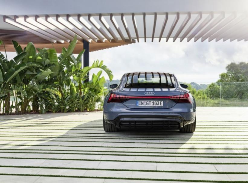 De achterzijde nieuwe Audi E-Tron GT